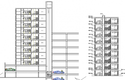 Side sectional view of commercial housing building dwg file