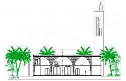 Side sectional view of religious city mosque dwg file
