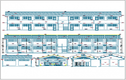 Side view and elevation of collage dwg file