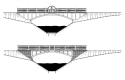Side view elevation of a bridge dwg file