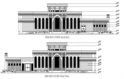 Side view elevation of a mosque dwg file