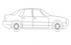 Side view of luxuries car cad block design dwg file