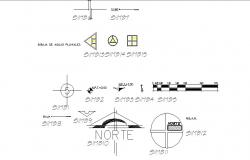 Sign and symbols blocks details of direction dwg file
