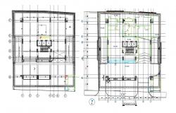 Simple Commercial Building Designs With Structural Grid Architecture AutoCAD File