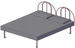 Simple MS Bed Double Design With Rendered In 3D MAX File