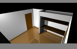 Simple bed room plan detail dwg file.