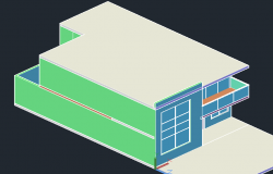 Simple house 3 D plan detail dwg file