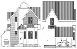 Single Family Bungalow Design and Elevation dwg file