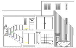 Single Family Home Design and Elevation dwg file