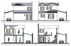 Single Family House Elevation and section Details dwg file
