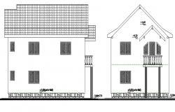 Single Family Housing Front and Beck Elevation Design dwg file