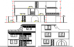 Single Family Two Flooring Bungalow Design and Elevation dwg file