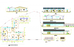 Single Level House layout plan and elevation design