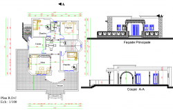 Single Level House plan dwg file