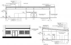 Single Story Building Elevation and Section CAD Drawing