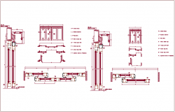 Single & double door design view of sliding door, sectional view dwg file