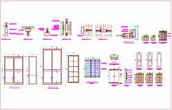 Single and double door design view with grill and detail view dwg file