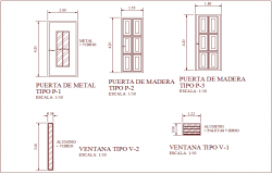 Single and double door design view with window detail view for law office dwg file