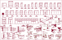 Single and double door design with sectional detail dwg file