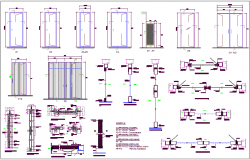 Single and double door design with sectional view dwg file