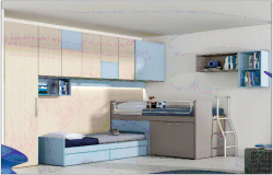 Single bedroom design with interior view dwg file
