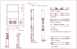 Single door design view with door sectional and detail view dwg file