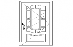 Single door elevation design dwg file