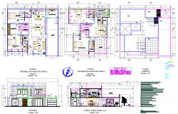 Single family home plan detail dwg file