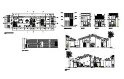 Single-family house 22.45mtr x 5.10mtr with different elevation and section in dwg file