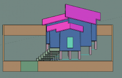Single family house 3 D view detail dwg file