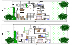 Single family house architecture project details dwg file