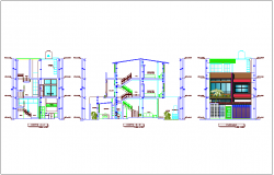 Single family house different axis section view and elevation dwg file