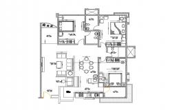 Single family house distribution plan details dwg file