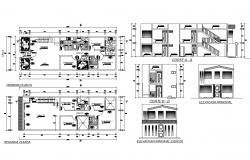 Single family house elevation, section, first and second floor plan details dwg file