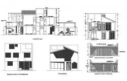 Single family house elevation, section and gate and fence details dwg file