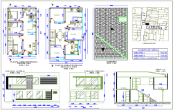 Single family house floor plan with elevation dwg file