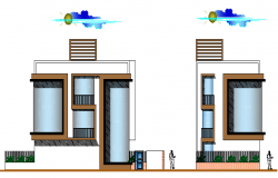 Single family house front and side elevation details dwg file