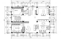 Single family house layout plan cad drawing details dwg file