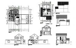 Single family house with furniture detail in dwg file