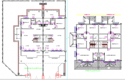 Single family house with layout and door details dwg file