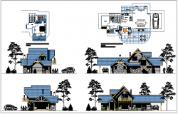 Single family housing bungalow full elevation and layout plan details dwg file