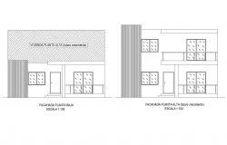 Single-family residential house with elevation in dwg file