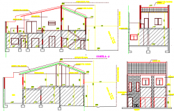 Single plan multi-family house elevation and section details dwg file
