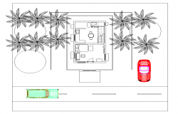 Single room housing structure detail plan 2d view layout autocad file