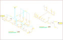 Single sanitary water line isometric view with black and white water line system for classroom dwg file