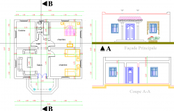 Single story House plan dwg file