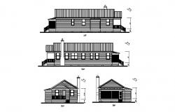 Single story apartment all sided elevation cad drawing details dwg file