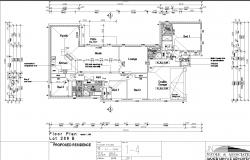 Single story dwelling plan detail dwg file.