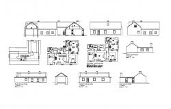 Single story house all sided elevation and ground floor plan details dwg file