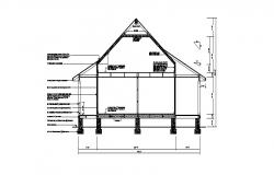 Single story house front constructive section details dwg file